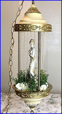 Vintage Hanging Oil Rain Lamp Motion Nude Lady Greek Goddess Retro 30