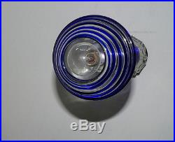 Vintage Hanging Pendant Designer Fixture Lamp Light Cobalt Blue Art Glass Chrome