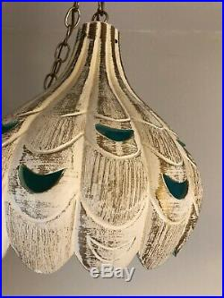 Vintage Hanging Pottery Swag Lamp MCM Hollywood Regency Cream, Gold, Turquoise