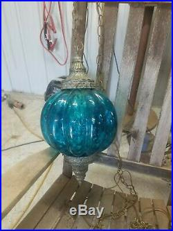 Vintage Hanging Retro Glass Swag Lamp Light BLUE with Diffuser