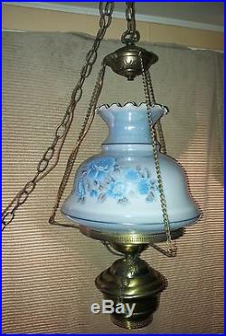 Vintage Hanging Swag Gone With The Wind Hurricane Victorian Lamp Floral
