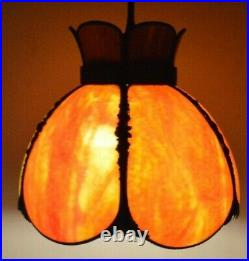 Vintage Hanging Swag Kitchen Pendant Light Lamp Orange Marbled Slag Glass