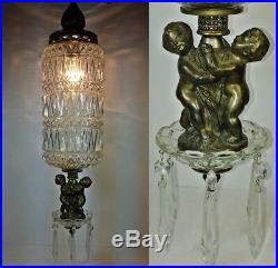 Vintage Hanging Swag Lamp Cherubs Glass Prisms Hollywood Regency Light Rewired