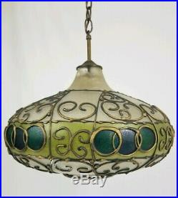 Vintage Hanging Swag Lamp Light Glass Mid-Century Hollywood Regency Pendant