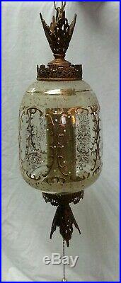 Vintage Hanging Swag Lamp Light w Pull Chain Hollywood Regency Glam 23 XLNT