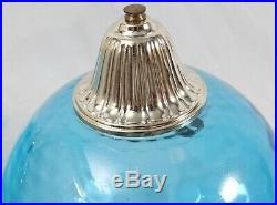 Vintage Hanging Swag Lamp Pair Blue Flashed Glass Mid Century Coin Dot Globe