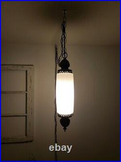Vintage Hanging Swag Lamp White Glass Light Hollywood Regency Rewired 2 AVAIL
