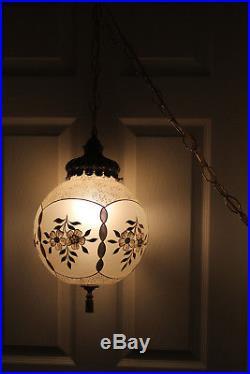 Vintage Hanging Swag Lamp White Globe Hollywood Regency Gold Gild Light