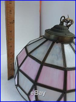 Vintage Hanging Tiffany Style Pink Stained Slag Glass Shade Hanging Light Lamp