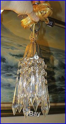Vintage Hanging lily Brass bronze SWAG closet lighting lamp Chandelier crystal