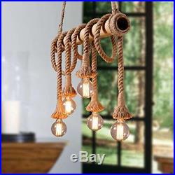 Vintage Hemp Rope Hanging Pendant Light Ceiling Chandelier Lamp Holder X6 Brown