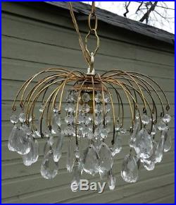Vintage Hollywood Regency Brass Crystal Waterfall Fountain Hanging Swag Lamp