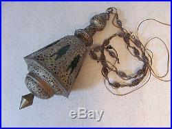 Vintage Hollywood Regency Brass French Hanging Swag Chandelier Green Lamp Light
