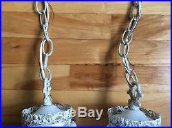 Vintage Hollywood Regency Church Double Hanging Swag Glass Lamp Light Fixture
