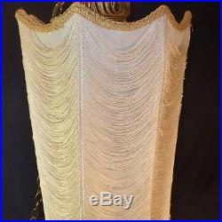 Vintage Hollywood Regency Elegant Gold & Cloth Roping Hanging Octagon Light Lamp