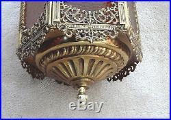 Vintage Hollywood Regency Gold Filigree & Amber Glass Hexagon Hanging Swag Lamp