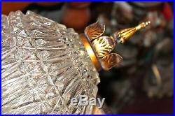 Vintage Hollywood Regency Hanging Chandelier Lamp Glass Metal Rococo