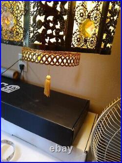 Vintage Hollywood Regency Hanging Swag Lamp Gold metal Filigree 24 Jewels Ornate