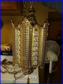 Vintage Hollywood Regency Hanging Swag Lamp Gold metal Filigree 42 Jewels Ornate