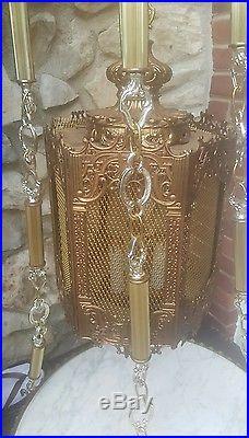 Vintage Hollywood Regency Hanging Table Lamp 1960s Chandelier Swag Light Fixture