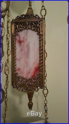 Vintage Hollywood Regency Hanging Table Lamp Pink Slag Glass Marble Top Table