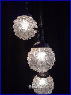 Vintage Hollywood Regency MCM Hanging Swag Lamp Cut Ice Globes