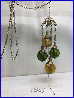 Vintage Hollywood Regency Mid Century 4 Pendant Hanging Swag Lamp Multi Color