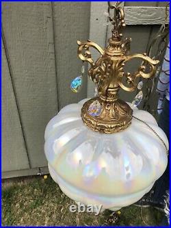 Vintage Hollywood Regency Opal Mother Of Pearl Swag Light Lamp