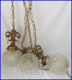 Vintage Hollywood Regency Swag Hanging Lamp (3) Cut Crystal Globes