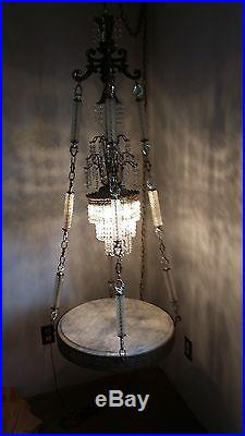 Vintage Hollywood Regency Swag Hanging Lamp Light Crystals Marble Table NICE