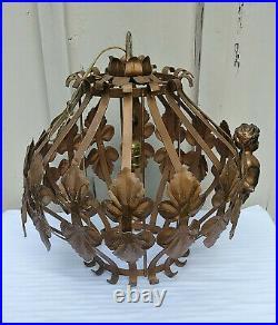 Vintage Hollywood Regency Swag Hanging Light Fixture Lamp Brass Gold Cherub