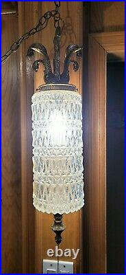 Vintage Hollywood Regency Swag Lamp Pressed Glass with Chain and Plug