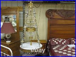 Vintage Hollywood Regency Swag Lamp w Marble Top Table Teardrop Crystals RARE