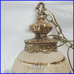 Vintage Hollywood Regency Swag MID Century Hanging MCM Glass Lamp Gold Leaf