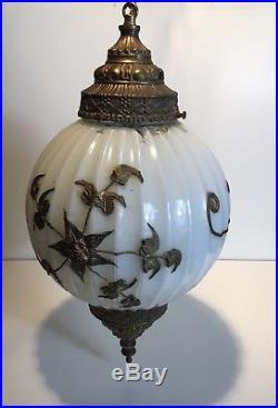 Vintage Hollywood Regency White Gold Flower Swag Glass Globe Hanging Lamp 19.5
