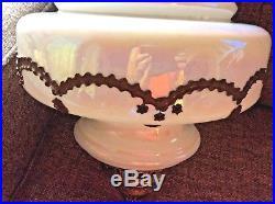 Vintage Hollywood Regency White Iridescent Mid Century Swag Hanging Lamp Light