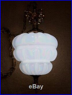 Vintage Holographic Carnival Milk Glass Hanging Swag Lamp 3Way Pull Chain Light