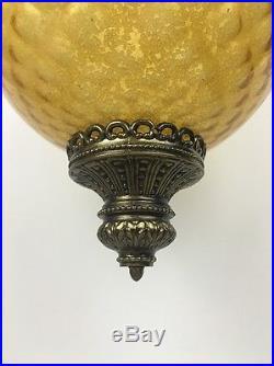 Vintage Huge 37.5 Golden Yellow Swag Hanging Orb Globe Light Ornate Lamp Glass