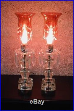 Vintage Hurricane Lamp withEtched Cranberry Glass Shades & Hanging Crystals
