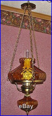 Vintage Hurricane Style Hanging Light Swag Lamp Unusual Amber Glass Globe