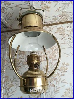 Vintage IDEAL BRENNER Brass Hanging Kerosene Oil Hurricane Marine Lantern Lamp