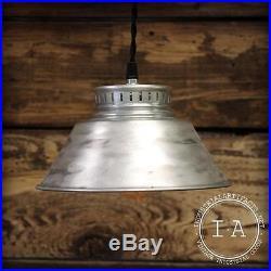 Vintage Industrial Hanging Brushed Chrome Aluminum Ceiling Lamp Light Fixture