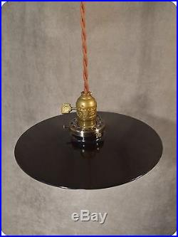 Vintage Industrial Hanging Light with Flat Lamp Shade Antique Machine Age Steel