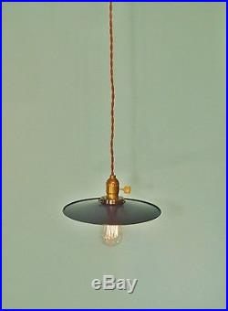 Vintage Industrial Hanging Light with Flat Lamp Shade Machine Age Minimalist