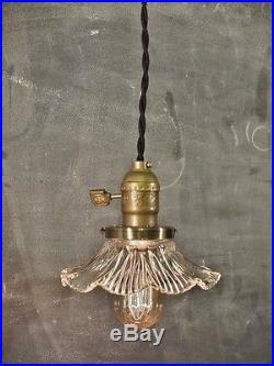 Vintage Industrial Hanging Light with Glass Ruffle Shade Machine Age Minimal