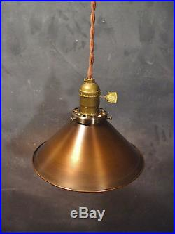 Vintage Industrial Hanging Light with Steel Cone Shade Machine Age Minimalist