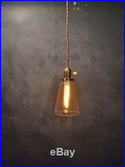 Vintage Industrial Hanging Light with Tubular Glass Shade-Machine Age Pendant Lamp
