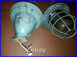 Vintage Industrial Metal Cage Hanging Factory Explosion Proof Light Lamp Ceiling