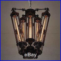 Vintage Industrial Metal Steampunk Chandelier Edison Bulb Pendant Hanging Lamp