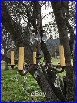 Vintage Italian Brass And Crystal Hanging Lamp Chandelier Lovely Details